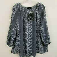 Fred David Semi Sheer Blouse Top Gray White Keyhole 3/4 Sleeves Women's L NEW