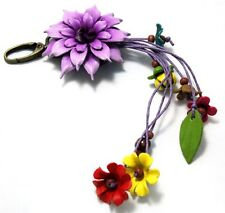 HANDMADE GENUINE LEATHER FLOWER KEYCHAIN KEYRING BAG STRING CHARM PURPLE FLORAL