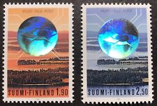 FINLAND TELECOMMUNICATIONS HOLOGRAM STAMP SET 2V 1989 MNH HOLOGRAPHIC STAMPS