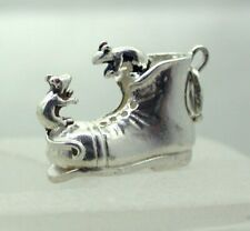 Vintage Lovely Large Heavy Solid Silver Boot With Mice Charm
