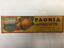 APRICOT CRATE LABEL PAONIA COLORADO ADVERTISING VINTAGE FRUIT ORIGINAL RARE