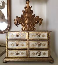 Vintage Florentine Italian Gold Leaf Tole Gilt Pink Jewelry Box Chest #6 Drawers
