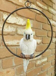 24cm BEAUTIFULL  HANGING  COCKATOO BIRD IN RING* GARDEN FIGURINE*POLY RESIN* NEW