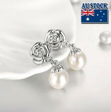 Lovely Stunning White Gold Filled Pearl Long Drop Earrings Party Jewelry