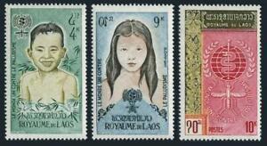 Laos 74-76,lightly hinged.Michel 121-123. WHO drive to eradicate Malaria,1962.