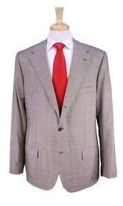Kiton Current Light Brown Plaid Wool-Silk 2-Btn Handmade Luxury Suit 42L