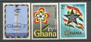 GHANA 1961 Série   YT n° 93 à 95 neufs ★★ Luxe  / MNH
