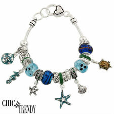 CLEARANCE SEA SHELL TURTLE DESIGNER INSPIRED CHARM BRACELET GREAT GIFT JEWELRY