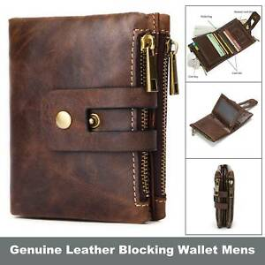 Vintage Genuine Leather RFID Blocking Wallet Mens Womens Magnetic Zip Coin Purse