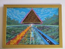 LARRY ORTIZ ILLUSTRATION PAINTING VINTAGE PSYCHEDELIC FUTURISM CITY RARE SURREAL