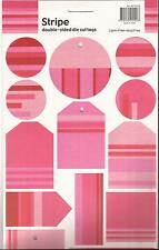 PINK SCRAPBOOKING TAGS - STRIPE double-sided die cut tag SCRAPBOOK CRAFT PINKY