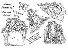 Unmounted Rubber Stamp Sheet, Victorian, Floral, Hat Box, Flowers, Floral Stamps