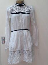 Victoriana Boho Midi Length Dress White Colour Long Sleeves Size 8