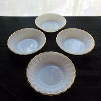 "Anchor Hocking Milk Glass 4 Golden Shell Swirl 5"" Berry Dessert Bowls"