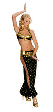 PLAYBOY HAREM GIRL Costume Lady Genie Belly Dancer Gold Coins Adult Small 2 4 6