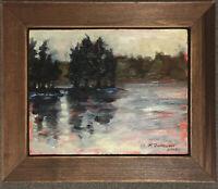 "original oil painting 8""x 10""  Frozen lake In Lakewood Landscape Plein Air"