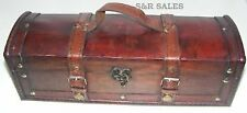 Rustic Hand Crafted Antique LOOK Wooden Long Pirate Treasure Chest Trinketstora