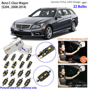 22 Bulbs LED Interior Light Kit White For W204 S204 2007-2014 Benz C Class Wagon