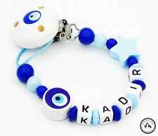 ♥ Schnullerkette mit Namen ★ Nazar Auge/Stern in babyblau/dunkelblau ♥ Neu ♥