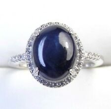 3.00 CTW Oval Sapphire Cabochon Sterling Silver Ring size  7