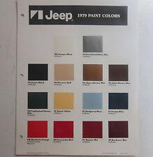1979 Jeep Wagoneer Cherokee CJ J10 J20 NOS color chart brochure