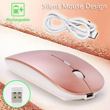 Rose Gold Rechargeable Wireless Optical Mouse 2.4GHz Mice+USB Receiver PC Mac