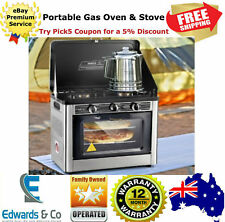 Portable Gas Oven Camping Stove Cooking LPG Burner Stainless Steel Silver Black
