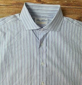 Ben Silver Men's Button Front French Cuff Dress Shirt Sz 16-34 Blue Striped