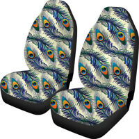 Funky Peacock Feather Car Seat Cover for Women Front Seat Soft Nonslip Universal