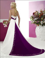 New Satin White&Purple wedding dress bridal gown stock size 6 8 10 12 14 16 18
