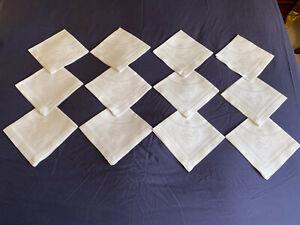 Superb Victorian Vintage Set 12 White Irish Linen Double Damask Luncheon Napkins