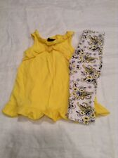 girls yellow shirt floral leggings outfit size 4