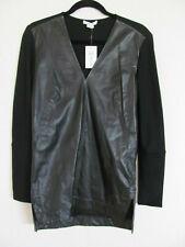 Helmut Lang V-Neck L/S Tunic-Tilt Leather & Wool- Black -Size Petite P -NWT $595