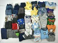 Wholesale Bulk Lot of 40 Boy Size 0-3 M 20 Shirts & 20 Bottoms Mixed Brands