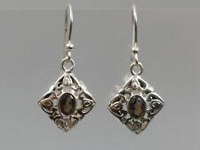 Ohrringe mit Rauchquarz braun 925 Silberohrringe floral verspielte Eleganz