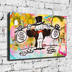 """36x24""""Alec Monopoly """"Money Weightlifter"""" New HD print on canvas rolled up print"""