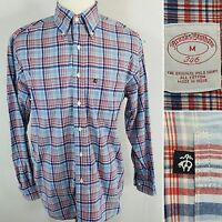 BROOKS BROTHERS Men's Medium Blue & Red Plaid Windowpane L/S Button Down Shirt