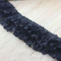 1M Chiffon Ruffle Tiered Lace Trim Pleat Ribbon Dress Hemline Edge Fabric Sewing