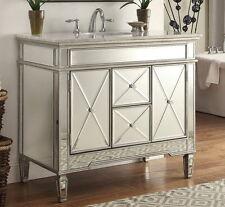 "44"" Carrara marble all-mirrored reflection Adelia Bathroom sink vanity DH13Q355"