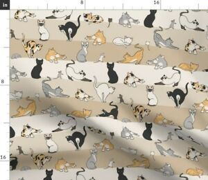Brown Gray Cat Mouse Animals Kitten Mice Cats Spoonflower Fabric by the Yard