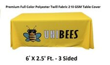 6ft. Custom Premium Full Color Table Cover/Throws 3 Sided Tablecloth Tradeshow