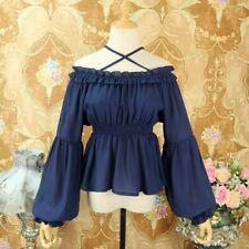 Lady Girl Lolita Shirt Blouse Ruffle Lace Vintage Peplum Top Chiffon Kawaii Chic