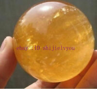 Natural Citrine Calcite Quartz Crystal Sphere Ball Healing Gemstone 40MM +Stand