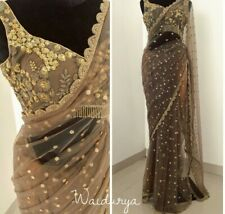 BROWN INDIAN BOLLYWOOD NYLON NET THREAD SARI WORK PARTY WEAR FANCY ETHNIC SAREE