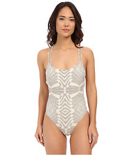 RIP CURL SOLSTICE STRAPPY BACK PRINT ONE PIECE SWIMSUIT GREY WHITE LARGE NEW $80