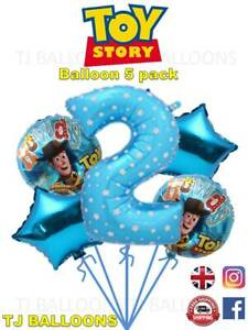 Toy Story 2nd Birthday Balloon Bouquet 5 Pack Kids Birthday Party Celebration