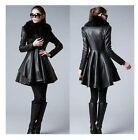Women Long Slim leather jacket skirt leather trench coat fur windbreaker outwear