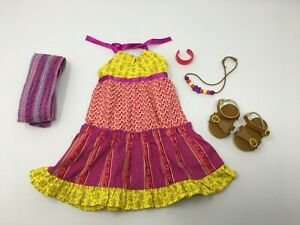 """American Girl Doll 18"""" JULIE ALBRIGHT mix print MAXI DRESS Complete Outfit EUC"""