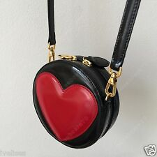 vintage MOSCHINO by Redwall mini black patent leather cross body bag red heart 5