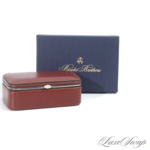 NIB #1 MENSWEAR Brooks Brothers Made in Germany Leather Velvet Lined Valet Box